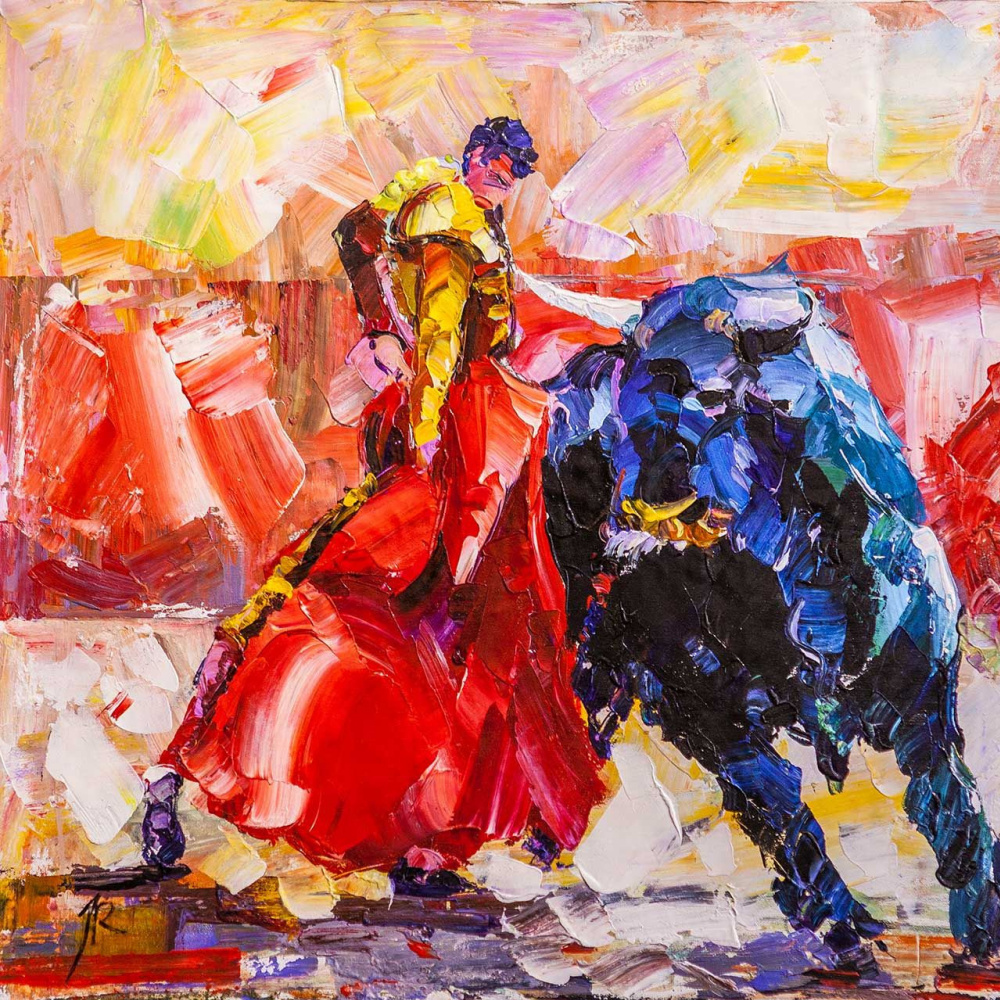 Jose Rodriguez. Bullfighting N2. Bullfighter and bull