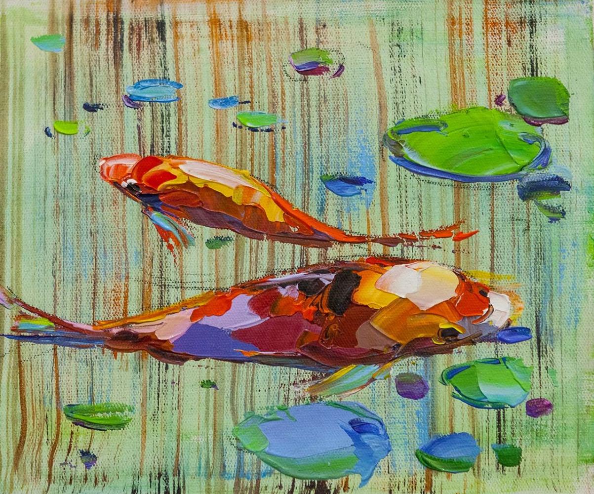 Jose Rodriguez. Koi carps. Good luck Japanese goldfish N14