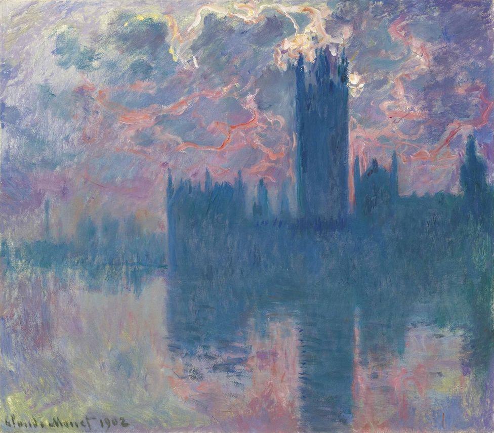 Claude Monet. Parliament house at sunset