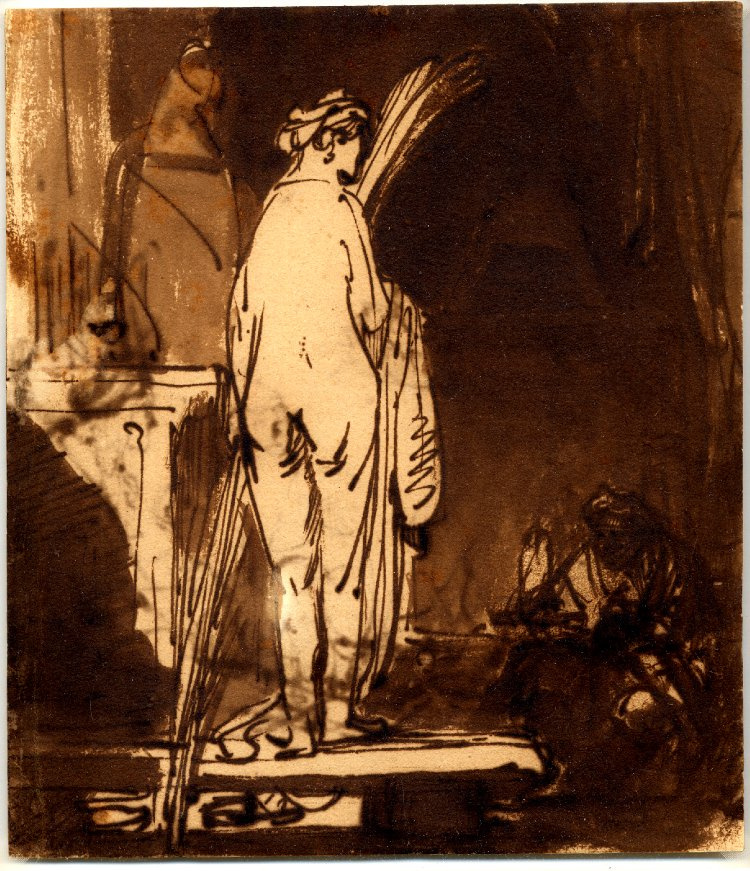 Rembrandt Harmenszoon van Rijn. The artist drawing from the model