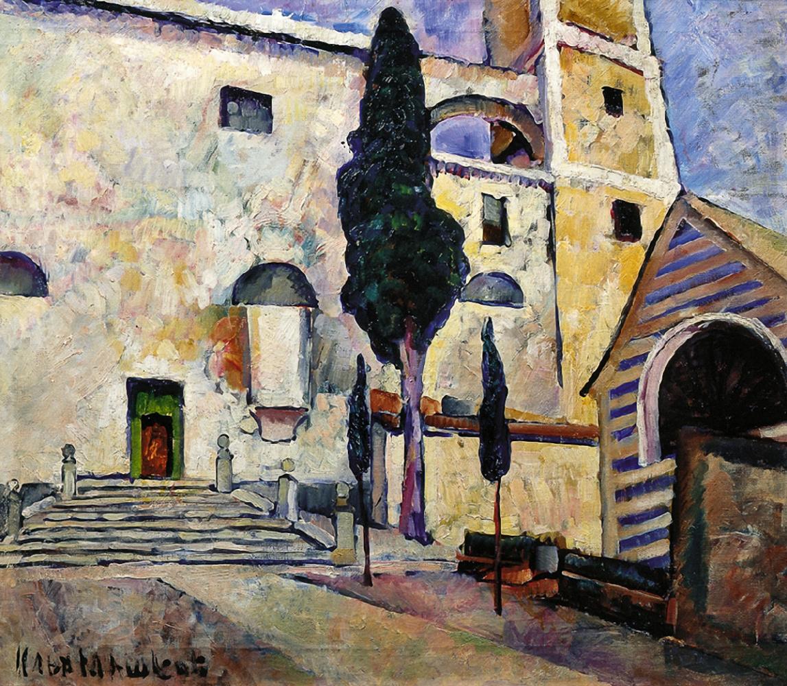 Ilya Ivanovich Mashkov. Cypress at the cathedral wall. Italy