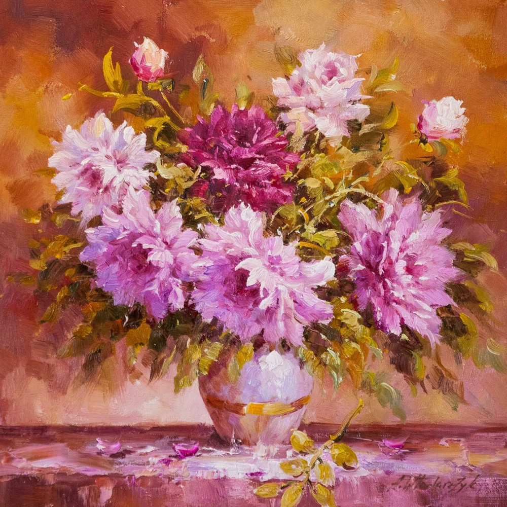 """Andrzej Vlodarczyk. Still life with oil """"Bouquet of peonies N2"""""""