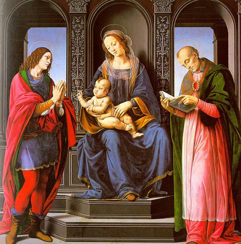 Лоренцо ди Креди. Мадонна с младенцем, Святой Джулиан и Святой Николай Мирликийский