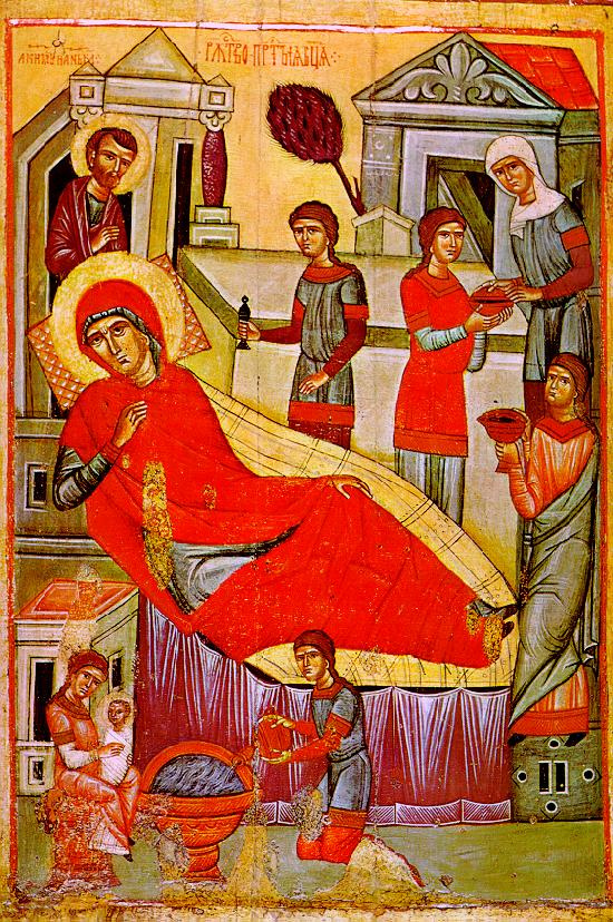 Icon Painting. The Nativity Of The Virgin