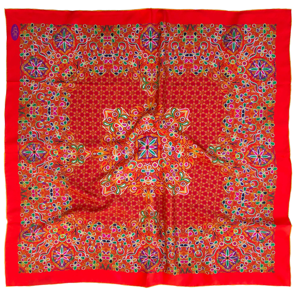 "Natasha Korn. Silk scarf ""Embroidery from Shkodra"" Design: Natasha Korn. Digital printing on natural silk. Manual binder. Free unique gift wrap and delivery"