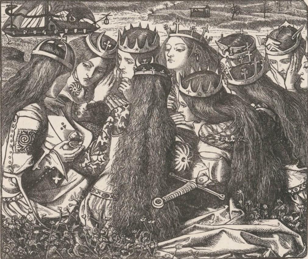 Данте Габриэль Россетти. Король Артур и плачущие королевы. Иллюстрация к поэзии Теннисона