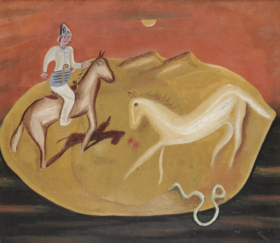 Victor Browner. Rider, white horse and snake