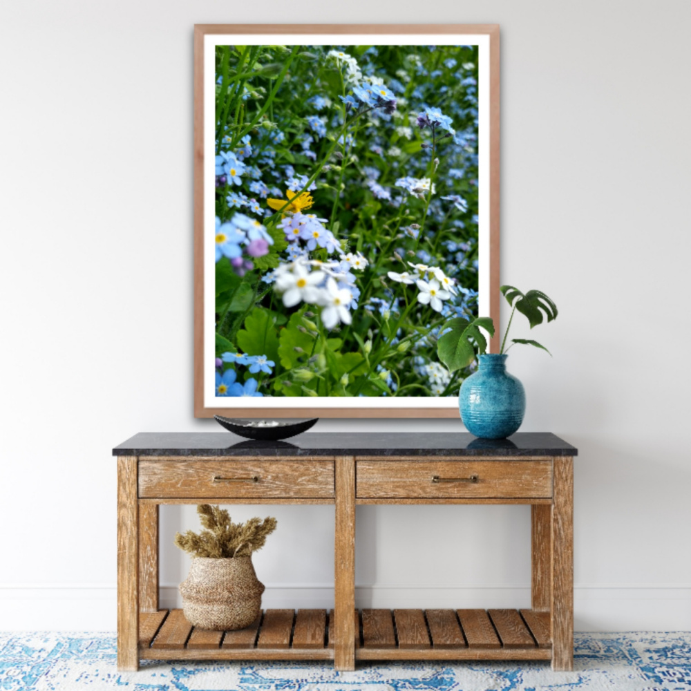 Natalya Garber. Forget-me-nots. Work for a suburban showroom, hallway at home or organization