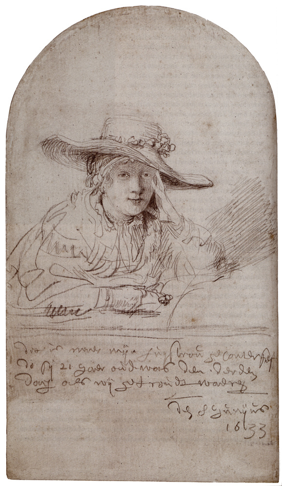 Rembrandt Harmenszoon van Rijn. Saskia-the bride (Saskia in a straw hat)