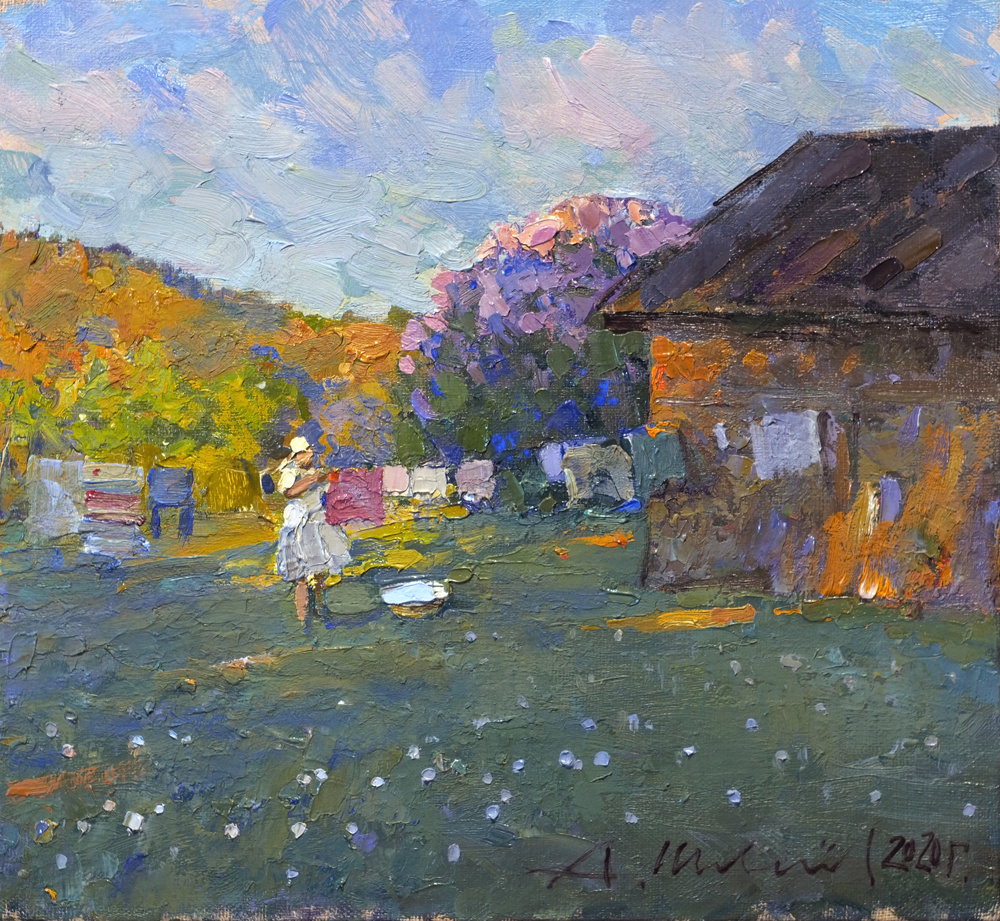 Alexander Shevelyov. Evening in the village. Oil on canvas, 26.3 x 28.5 cm. 2020