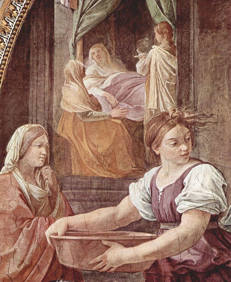 Гвидо Рени. Фрески в Палаццо Квиринале, Капелла делль Аннунциата, стена со входом, сцена: Рождение Марии, деталь