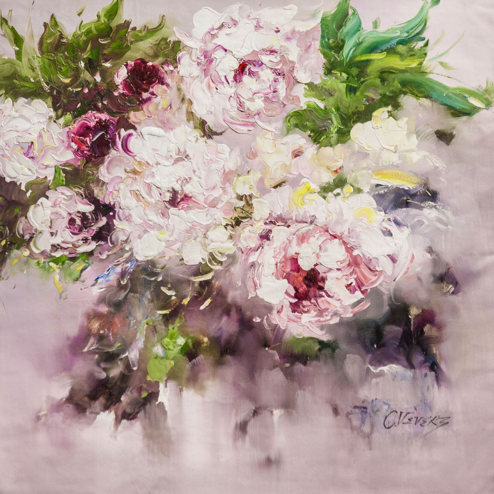 (no name). White peonies. The magic of color