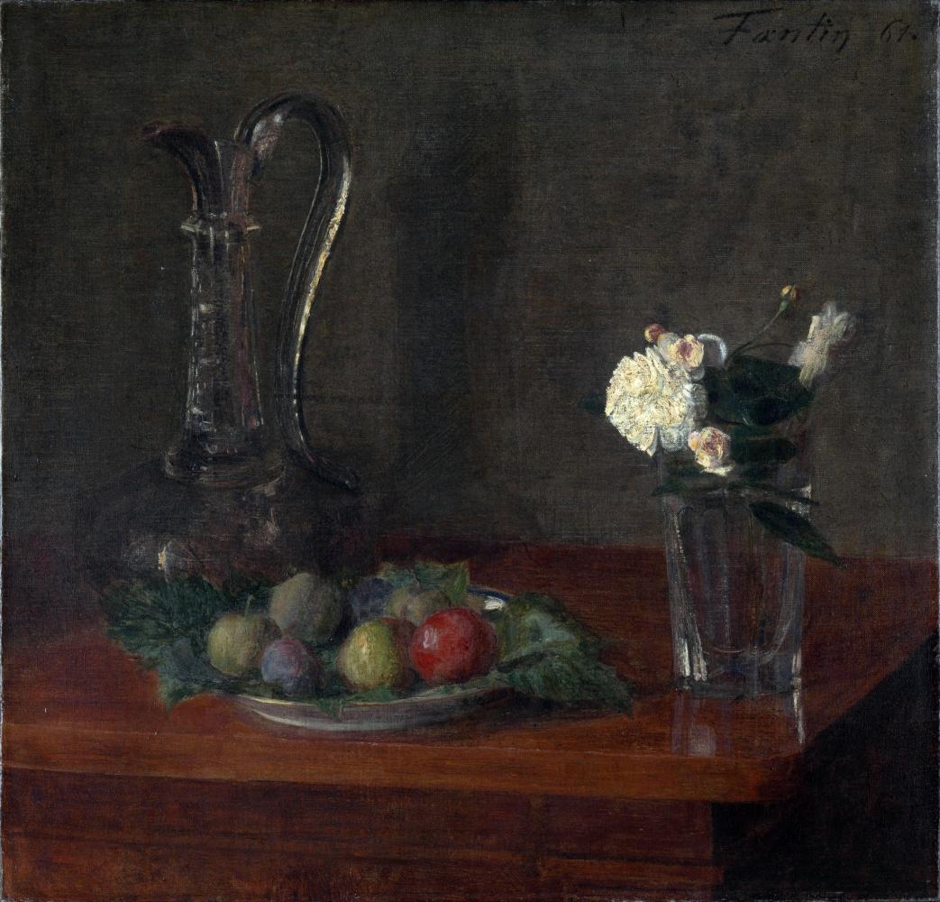 Анри Фантен-Латур. Натюрморт с стеклянным кувшином, фрукты и цветы