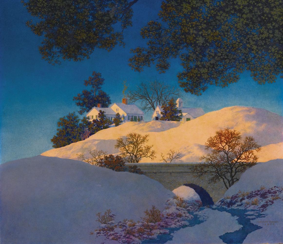 Максфилд Пэрриш. Зимний пейзаж. Солнечный свет на снегу