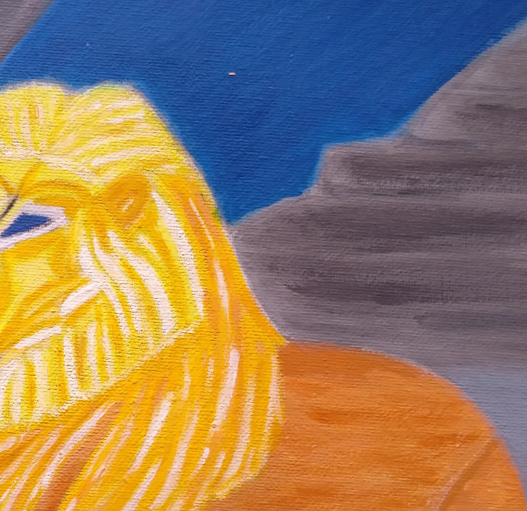 Lion looking at the prophet Daniel