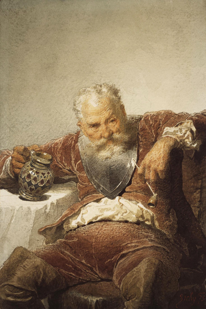 Mikhail Alexandrovich Zichy. Falstaff with a mug of wine and a pipe. State Hermitage, St. Petersburg.