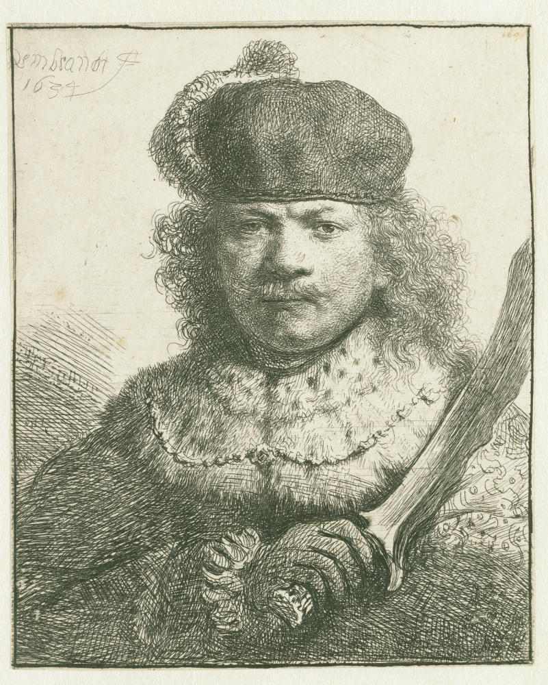 Rembrandt Harmenszoon van Rijn. Self Portrait with Raised Sabre