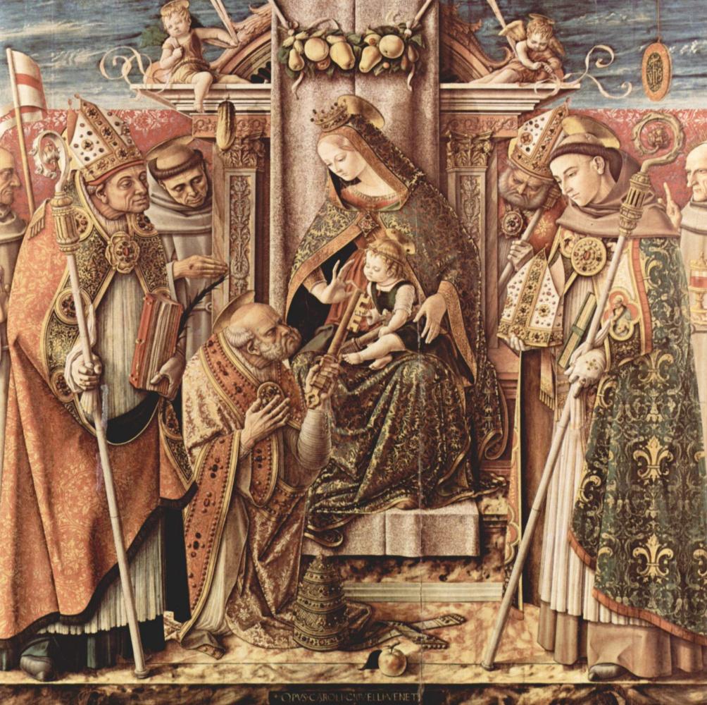 Карло Кривелли. Передача ключей. Мадонна на престоле с младенцем Христом, передающим ключи от рая святому Петру