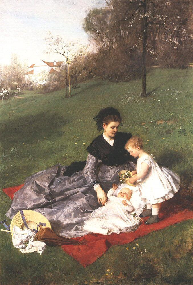 Pál Szinyei Merse. Mother with children