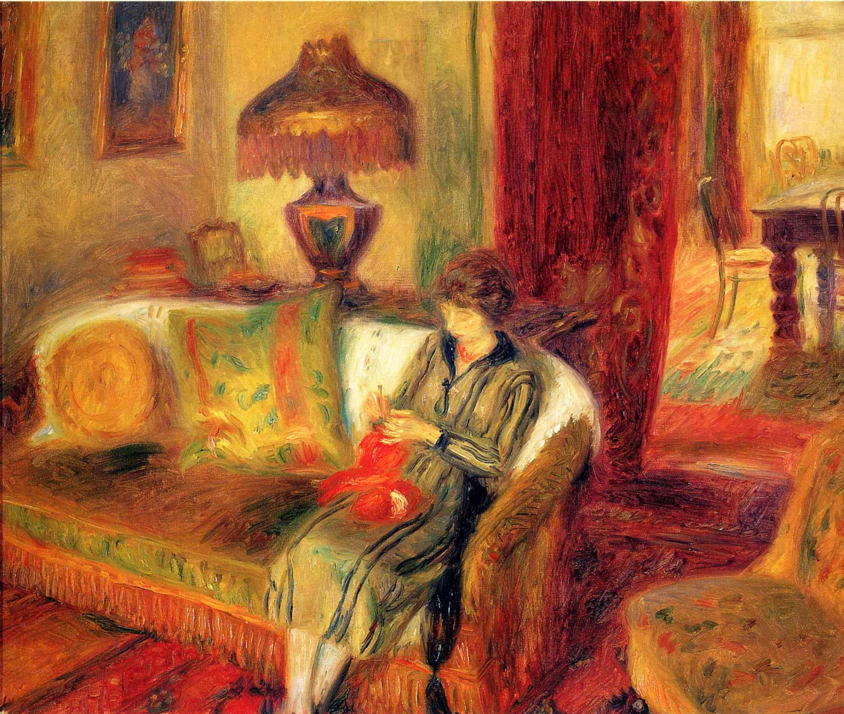 William James Glacens. Woman knits