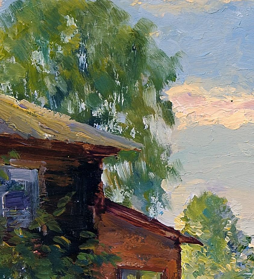 За домом.Май.Оргалит,масло 35,5 x 68,5 см.2010 8