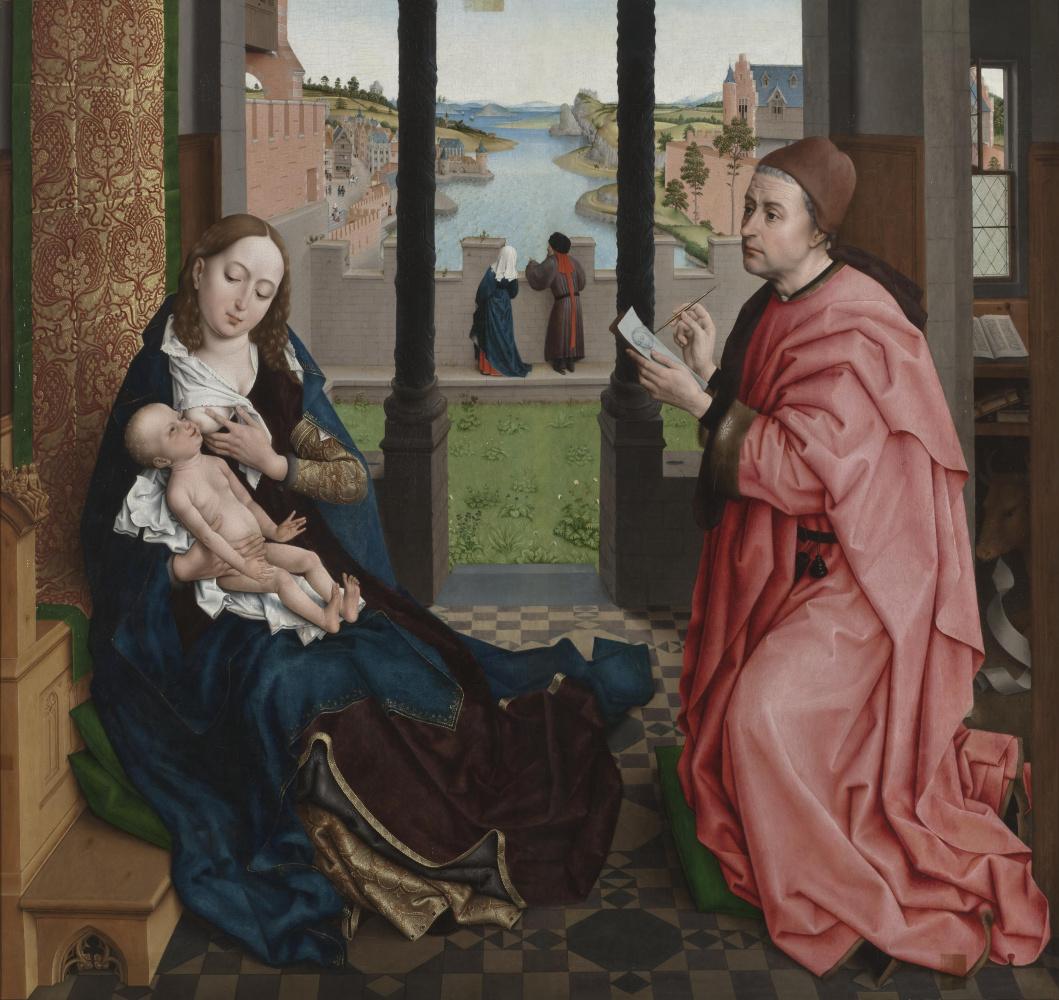 Rogier van der Weyden. Saint Luke painting the Madonna. Fragment