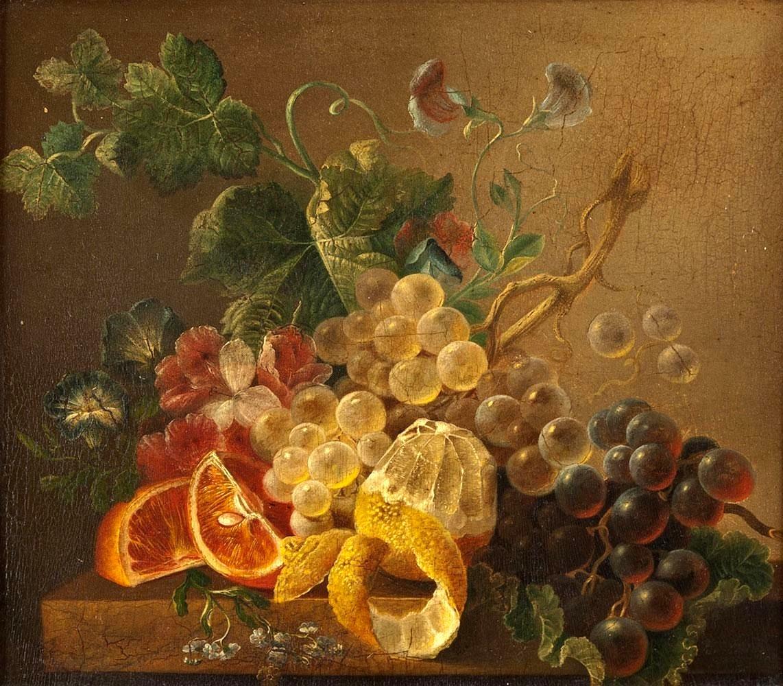 Иоганн Вильгельм Прейер. Натюрморт с виноградом, апельсинами и лимоном.