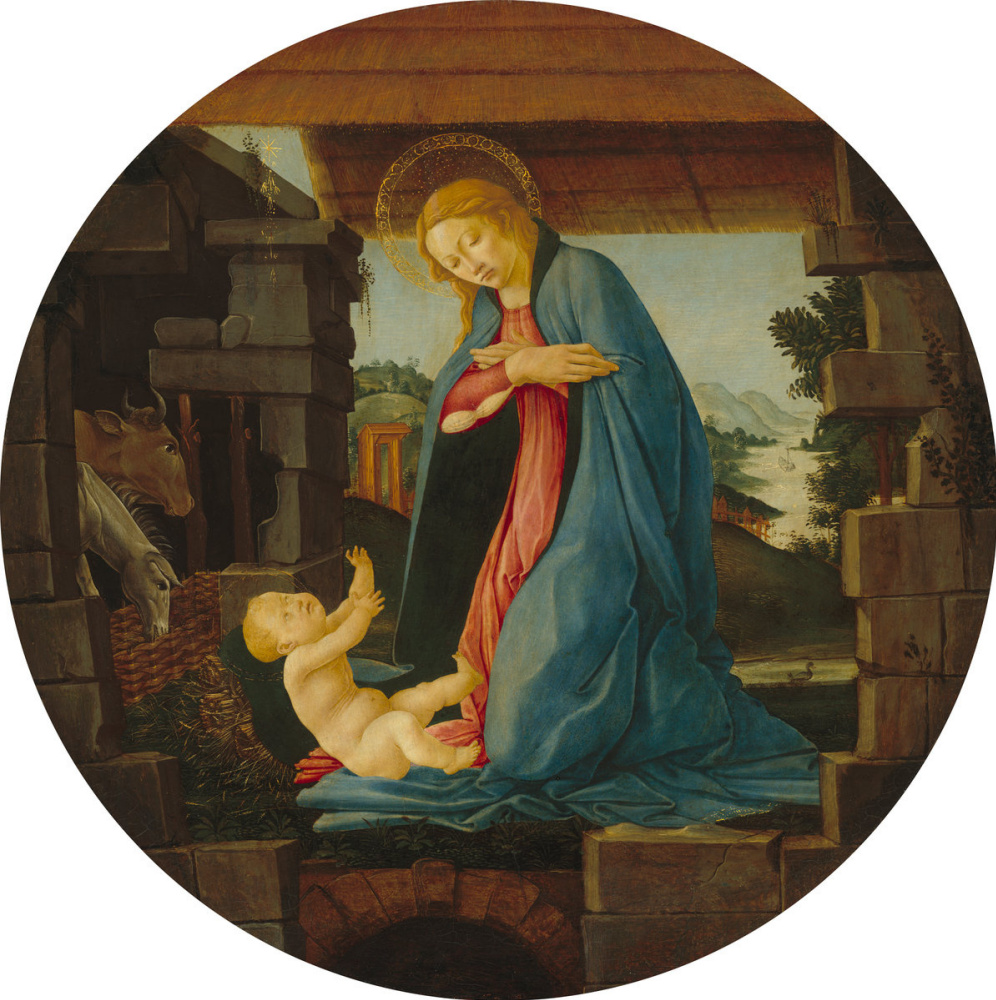 Sandro Botticelli. The worship of the virgin to the Christ child