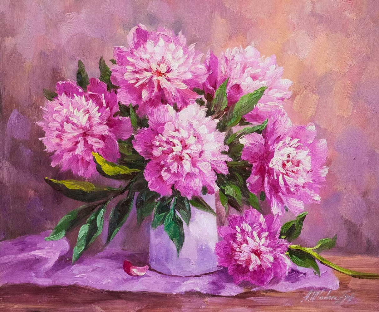 """Andrzej Vlodarczyk. Still life with oil """"Bouquet of peonies in a white vase"""""""