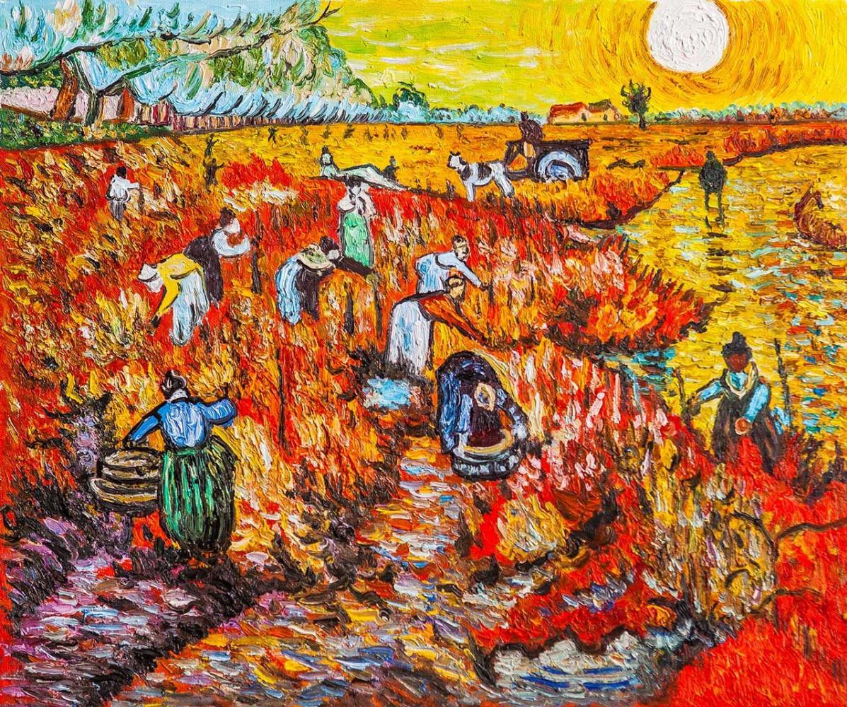 """Andrzej Vlodarczyk. Copy of Van Gogh's painting """"Red Vineyards in Arles"""""""