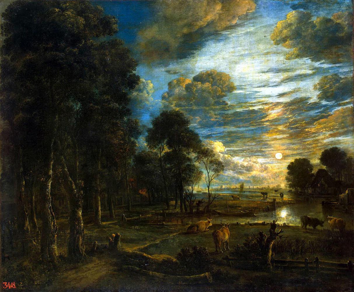 Art van der Ner. Night landscape with a river