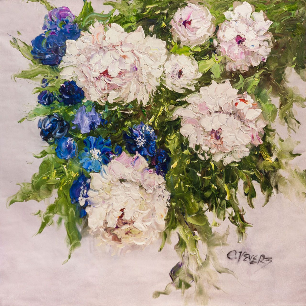 (no name). Bouquet of white peonies and cornflowers