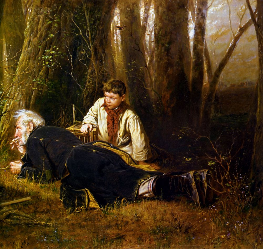 Vasily Grigorievich Perov. A birder. Fragment