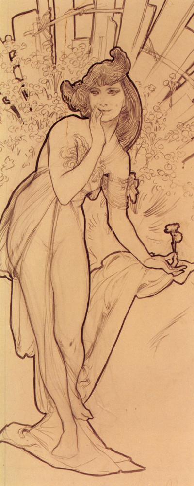 Alfons Mucha. Carnation. Sketch