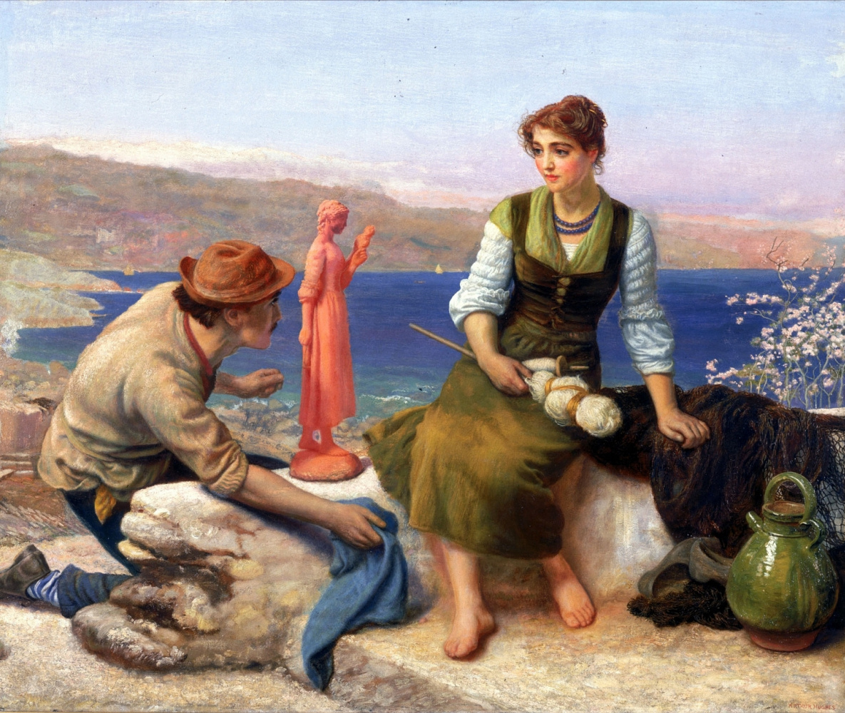 Arthur Hughes. The potter's courtship