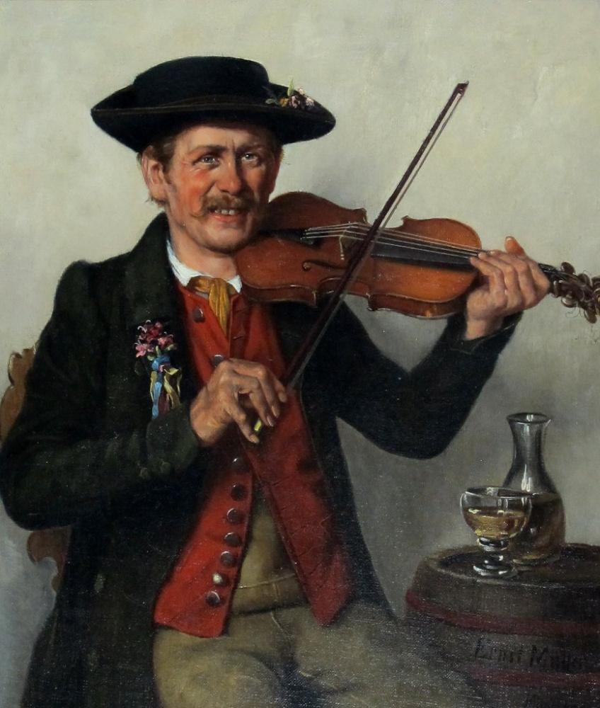 Эрнст Иммануил Мюллер. Музыкант в костюме со скрипкой или альтом