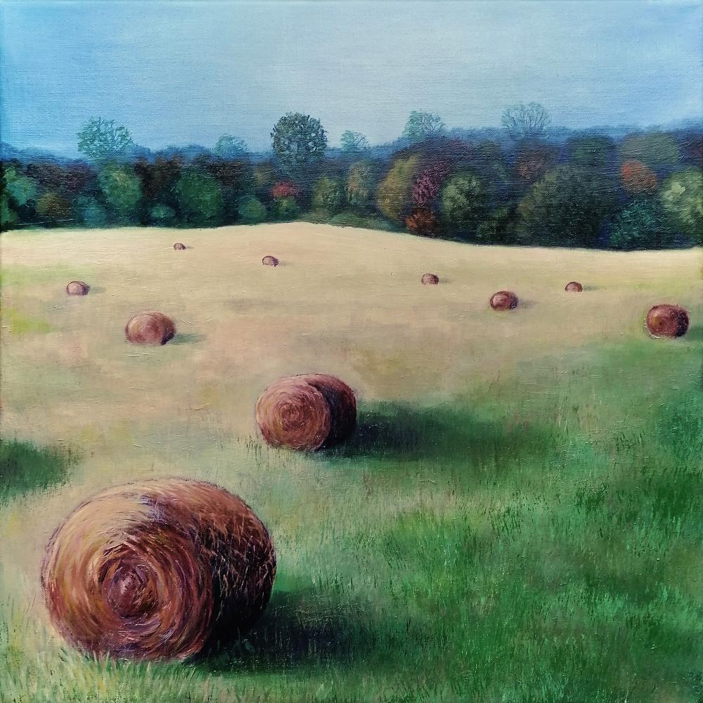Natalia Shcherbakova. Haystacks in the field