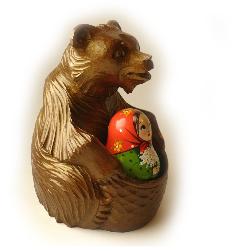 "Company ""World of matryoshka"". Tumbler Dasha (with a ringing) and the Bear"