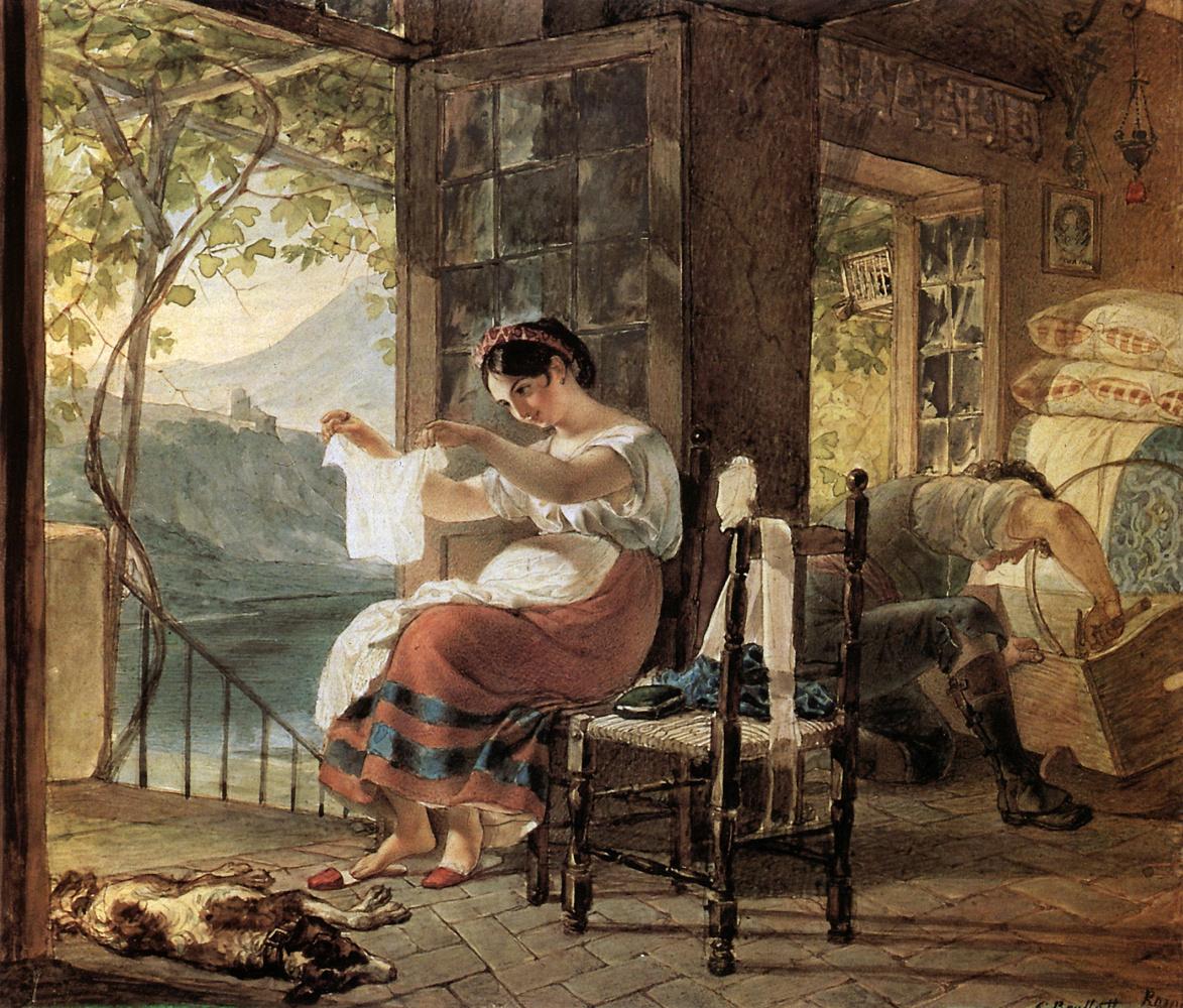 Карл Павлович Брюллов. Итальянка, ожидающая ребенка, разглядывает рубашку, муж сколачивает колыбель