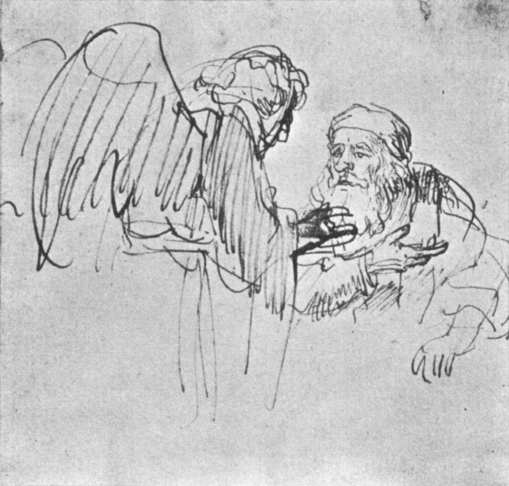 Рембрандт Ван Рейн. Ангел разговаривает с Авраамом