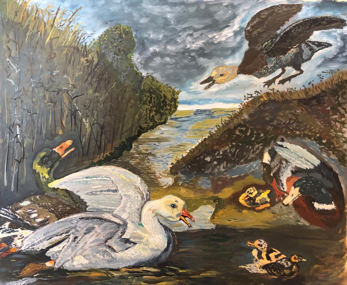 Sergey Vladimirovich Sebini. Geese and ducks. Replica based on Jan Spreyt 1660