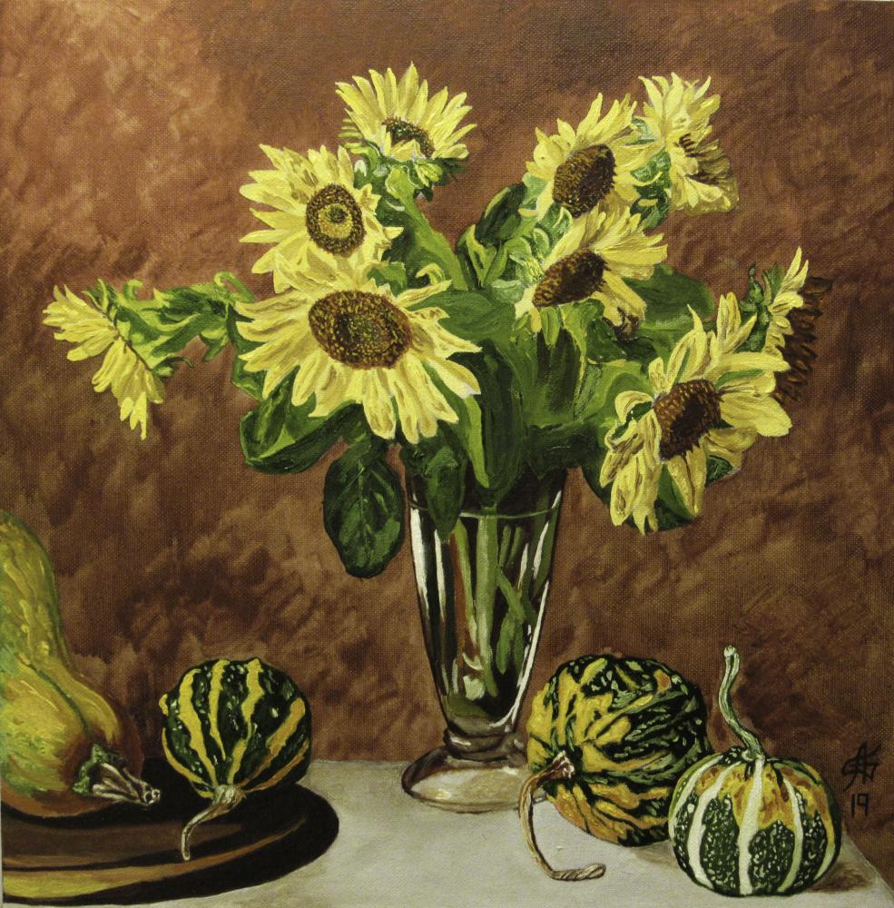 Artashes Vladimirovich Badalyan. Still life with a bouquet and pumpkins - x-hardboard-m - 40x40