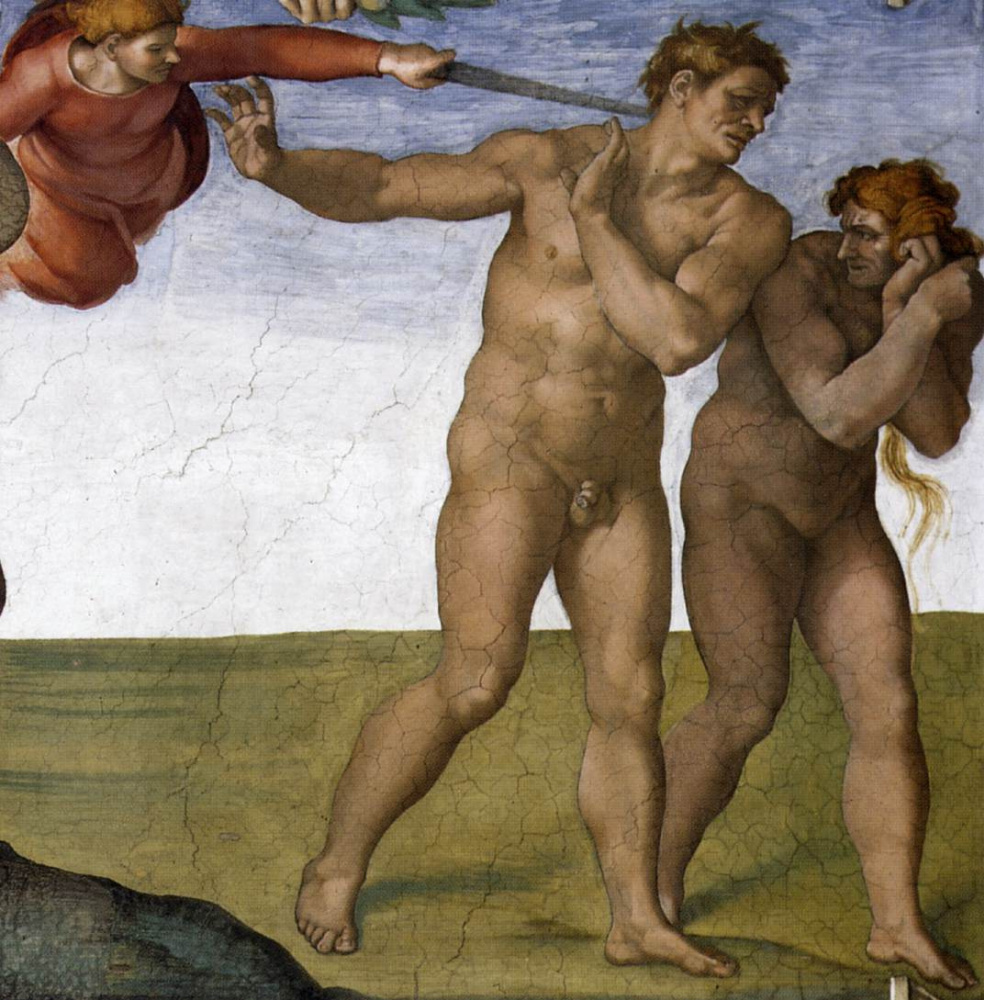 Микеланджело Буонарроти. Потолок Сикстинской капеллы. Бытие, падения и изгнание из рая. Изгнание.