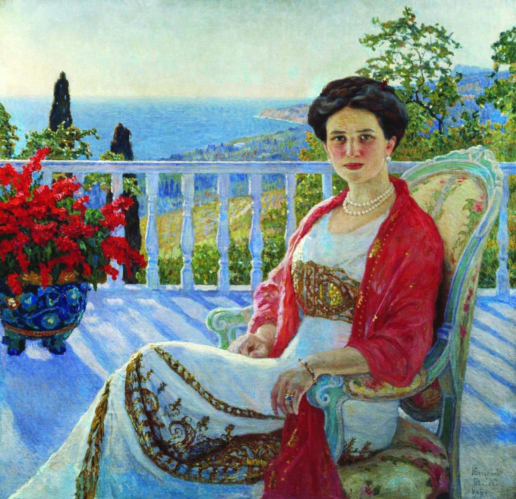 Николай Петрович Богданов-Бельский. Дама на балконе. Кореиз