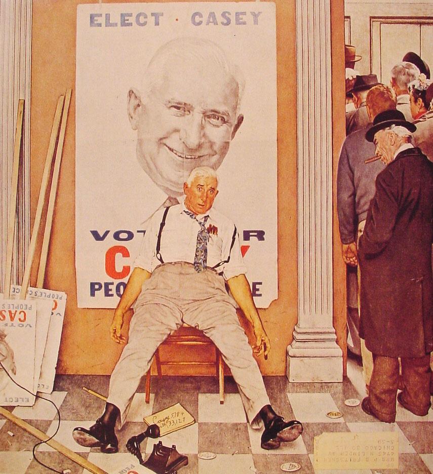 "Норман Роквелл. Голосуйте за Кейси. Обложка журнала ""The Saturday Evening Post"" (8 ноября 1958)"