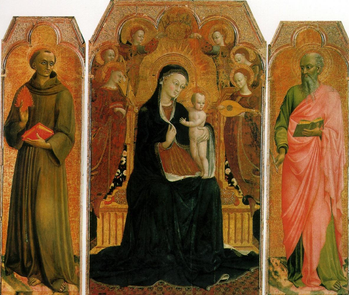 Джованни Стефано Ди. Мадонна с младенцем на троне в окружении шести ангелов