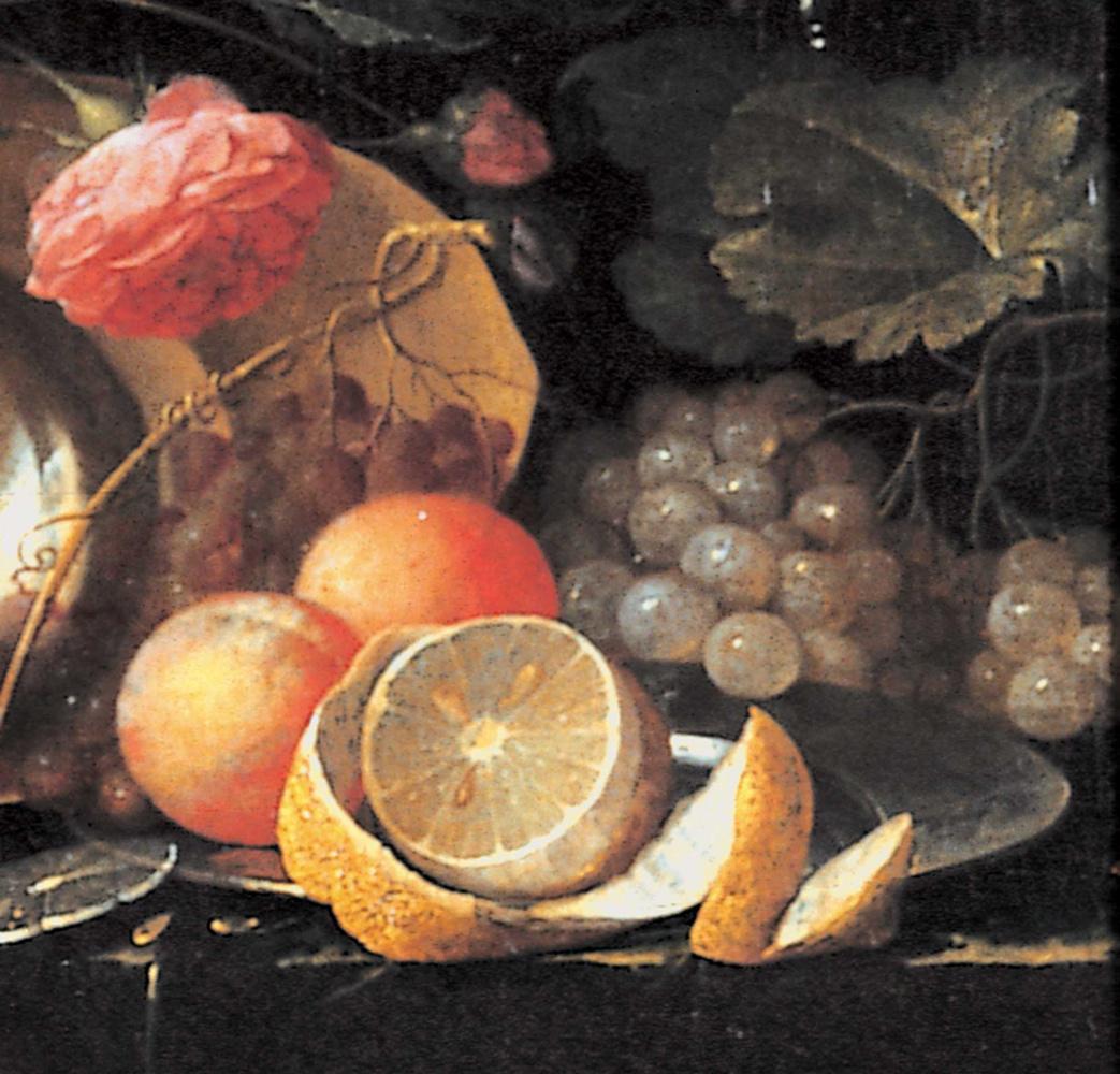 Ян Давидс де Хем. Натюрморт с лангустом. Фрагмент