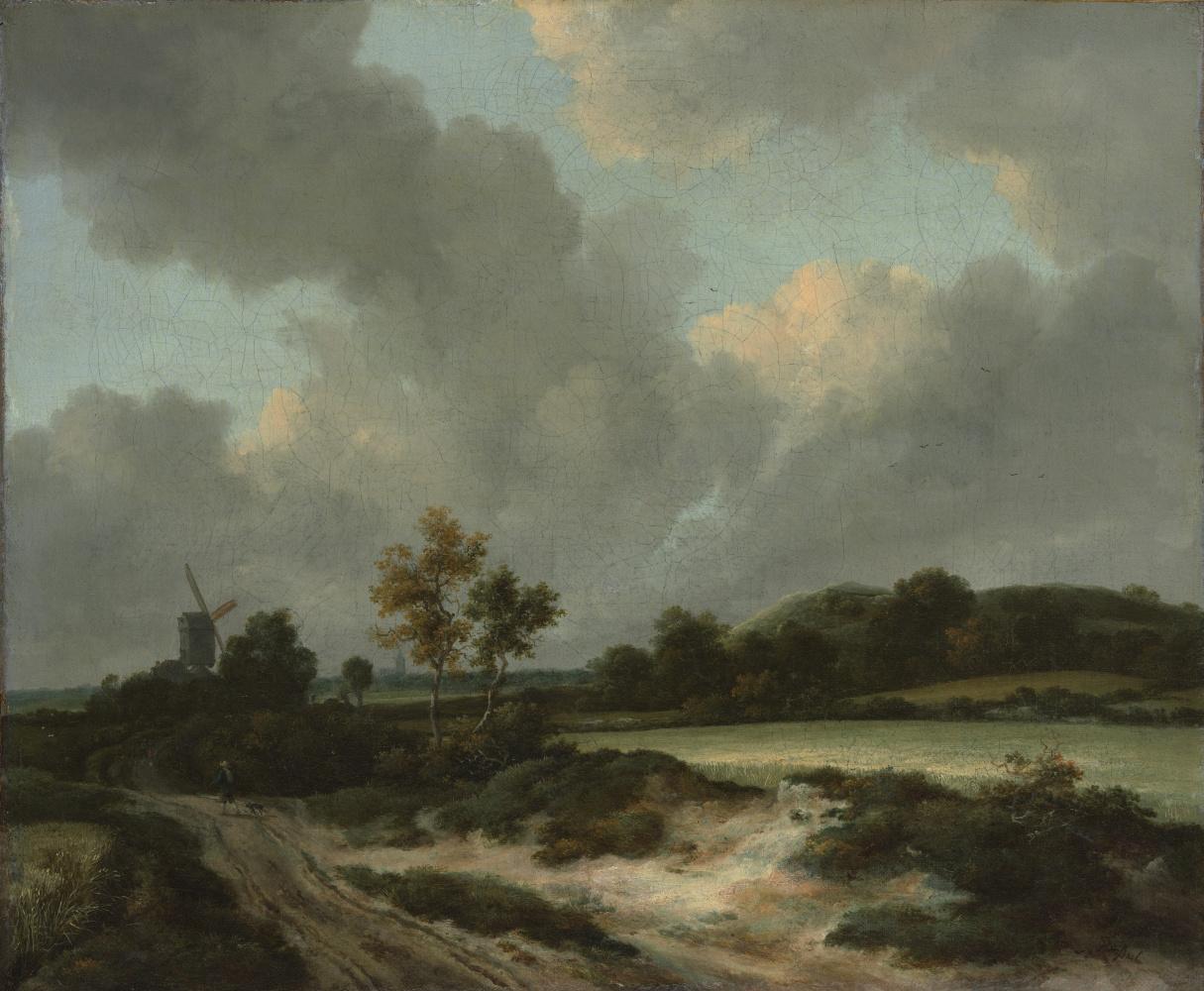 Jakob van Isaacs Ruisdael. Road through the fields