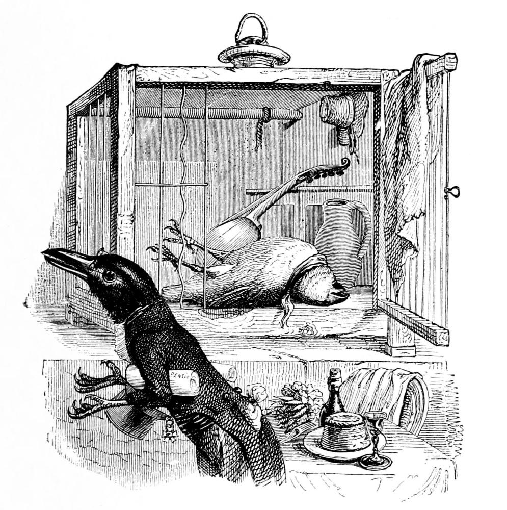 Жан Иньяс Изидор (Жерар) Гранвиль. Канарейка и ворон. Иллюстрации к басням Флориана