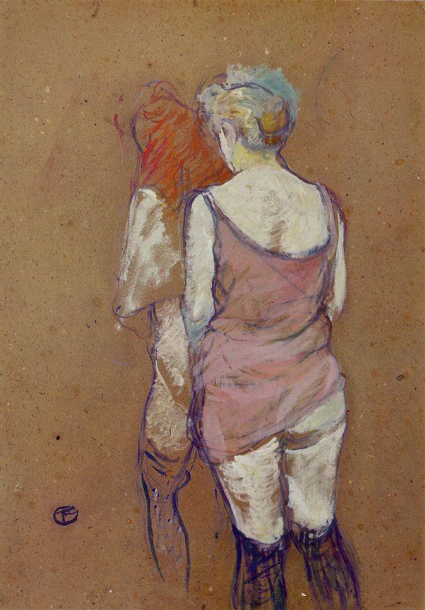 Анри де Тулуз-Лотрек. Две полуголые женщины. Вид сзади